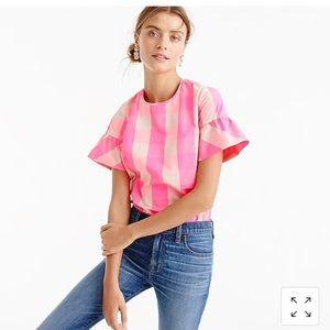 JCrew Buffalo Check Ruffled Neon Pink Top